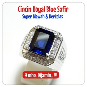 Harga cincin blue safir mewah kekerasan 9 mho dijamin ring mewah kelas | HARGALOKA.COM