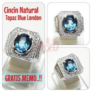 Harga cincin natural blue topaz london bebas inklusi 100 clear kualitas | HARGALOKA.COM