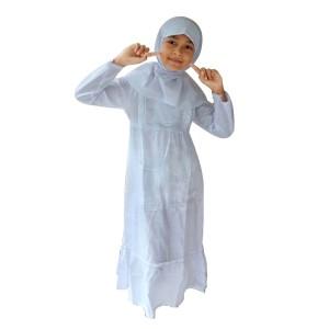 Harga baju muslim gamis anak perempuan warna putih simple | HARGALOKA.COM