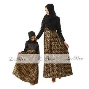 Harga baju gamis dress anak perempuan hitam coklat   2 3 | HARGALOKA.COM