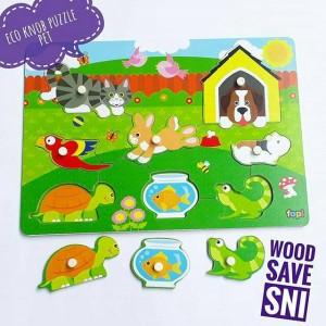Harga mainan edukatif edukasi puzzle hewan peliharaan kayu murah   HARGALOKA.COM