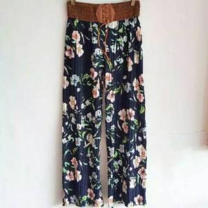Harga celana panjang cewek kulot motif bunga flowers cantik | HARGALOKA.COM