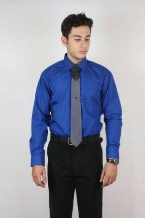 Harga kemeja pria biru bca polos lengan panjang bahan katun | HARGALOKA.COM