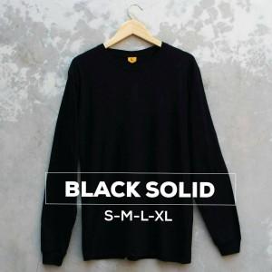 Harga baju kaos polos lengan panjang black solid hitam cewek cowok   | HARGALOKA.COM