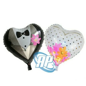 Harga balon foil wedding hati balon bride and groom balon baju | HARGALOKA.COM