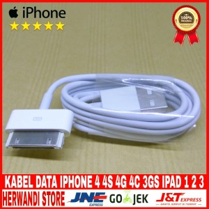 Harga kabel data usb iphone 4 4s 4g 4c 3gs original 100   | HARGALOKA.COM