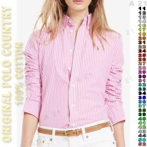 Harga kemeja panjang cewek c44 28 pink salur original polo | HARGALOKA.COM