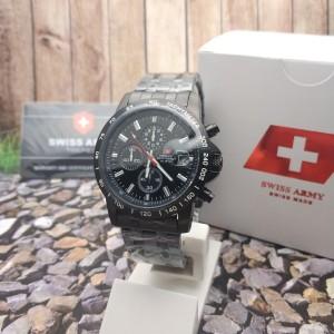 Harga jam tangan swiss army 1121 chrono full black | HARGALOKA.COM