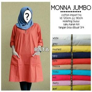Harga baju atasan tunik wanita muslim blouse monna jumbo   putih xxl   hitam | HARGALOKA.COM