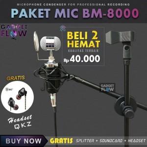 Harga paket mic bm 8000 stand microphone bm8000 youtube gaming | HARGALOKA.COM
