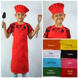 Harga apron celemek full dan topi chef atau koki jamur bolong khusus | HARGALOKA.COM