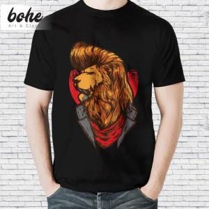 Harga baju kaos distro animal karakter keren pria unisex elvis lion   hitam | HARGALOKA.COM