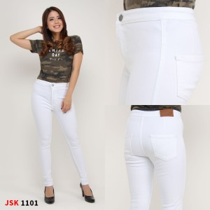 Harga highwaist skinny jsk 1101 size 27   30   putih   HARGALOKA.COM