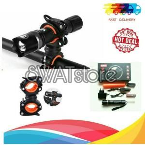 Harga paket komplit senter flashlight lampu sepeda depan plus braket | HARGALOKA.COM