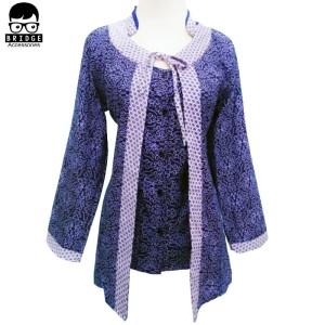 Harga dress batik modern   blouse batik wanita   batik wanita murah   003   biru | HARGALOKA.COM