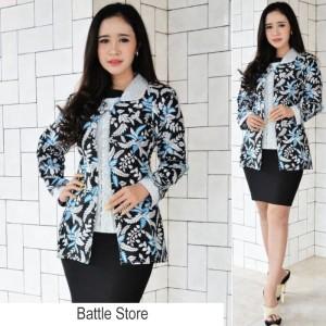 Harga dress batik modern   blouse batik wanita   batik wanita murah   001   biru | HARGALOKA.COM