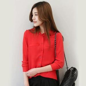 Harga baju atasan wanita blouse korean style plain shirt long sleeve ummi   | HARGALOKA.COM