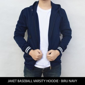 Harga jaket varsity jaket polos baseball varsity hoodie biru | HARGALOKA.COM