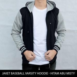 Harga jaket varsity jaket polos baseball varsity hoodie hitam abu | HARGALOKA.COM