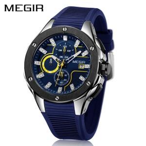 Harga megir pria olahraga watch chronograph tali silikon kuarsa | HARGALOKA.COM