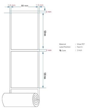 Harga label barcode silver pet 88x120mm 1line 1000pcs gap 2mm core3 34 | HARGALOKA.COM