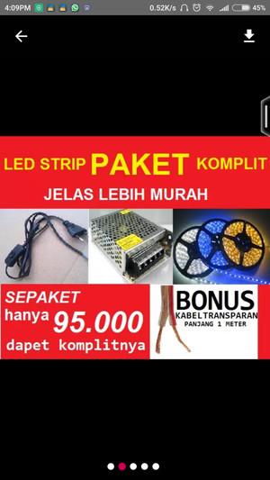 Harga paket led strip adaptor kabel saklar kabel 1 m lgs | HARGALOKA.COM