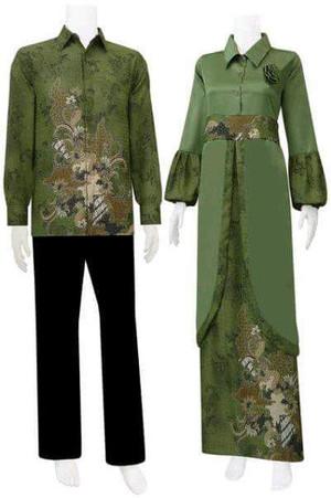 Harga sarimbit gamis batik couple dinda   hijau tua | HARGALOKA.COM