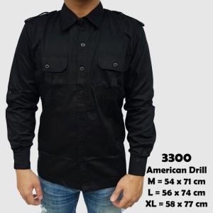 Harga baju kemeja lengan panjang casual pria hitam polos slimfit 3300   hitam | HARGALOKA.COM