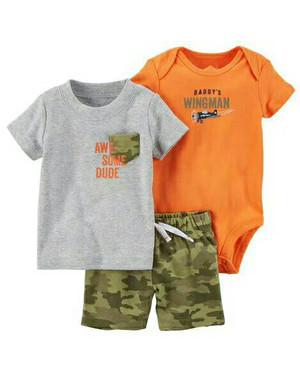 Harga baju bayi jumper set carters setelan tee pendek short pants army   9 12 | HARGALOKA.COM
