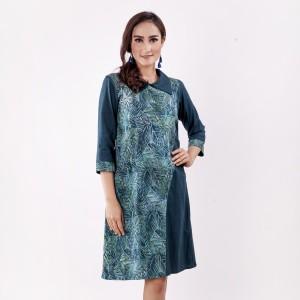 Harga batik pria tampan   dress side kombinasi abs big leaves   navy | HARGALOKA.COM