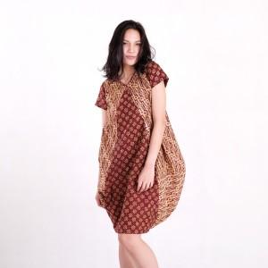 Harga batik pria tampan   dress raema parang klithik ayu red kombinasi   cokelat muda | HARGALOKA.COM