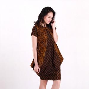 Harga batik pria tampan   dress raema parang klithik ayu sogan kombinasi   cokelat tua | HARGALOKA.COM