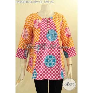 Harga blouse batik wanita model lengan 7 8 kancing depan size m | HARGALOKA.COM