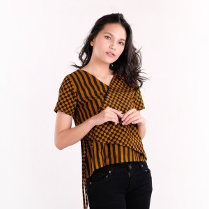 Harga batik pria tampan   blouse sakura half inch check sogan kombinasi   sogan hitam | HARGALOKA.COM