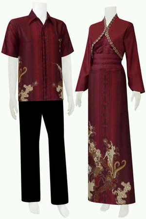 Harga sarimbit gamis batik couple nabila   maroon | HARGALOKA.COM