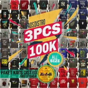 Harga paket kaos distro 3pcs   premium cotton combed kicloth bukan   HARGALOKA.COM