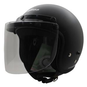 Harga paket helm retro half face black doff visor bogo flat clear   hitam   HARGALOKA.COM