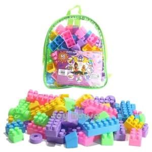 Harga mainan edukasi anak   happy kids block lego building blok isi 65pc   HARGALOKA.COM