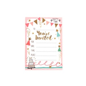 Harga kartu udangan birthday party invitation card   gold amp pink | HARGALOKA.COM