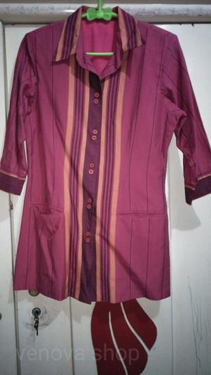 Harga baju atasan wanita kemeja kerja batik lurik   | HARGALOKA.COM