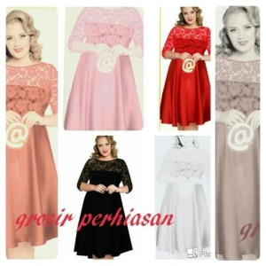 Harga dress jumbo bigsize big size xl kombi brokat bagus   putih | HARGALOKA.COM