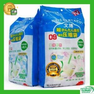 Harga 8pc vacuum bag plastik pakaian baju selimut pakaian rapi traveling   bening | HARGALOKA.COM