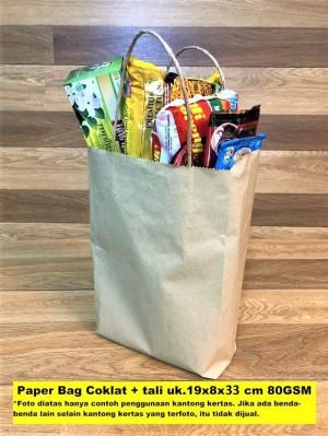 Harga paperbag flat kantong kertas coklat tali 19x8x33 baju lukis | HARGALOKA.COM