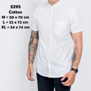 Harga baju kemeja lengan pendek casual pria putih polos slimfit 3295   putih | HARGALOKA.COM
