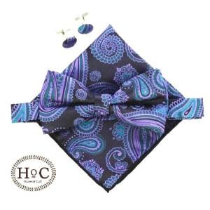 Harga dasi kupu saputangan bowtie pocket square cufflinks blue | HARGALOKA.COM