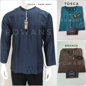 Harga baju koko polos lengan panjang seri warna pdwans   dark navy   HARGALOKA.COM