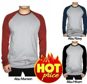 Harga kaos polos raglan lengan panjang pria wanita kaos t shirt distro murah   abu navy | HARGALOKA.COM