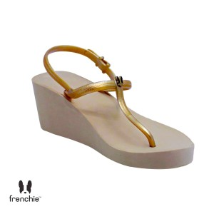 Harga sandal wanita frenchie wedges strappy gold mocca shs02   | HARGALOKA.COM