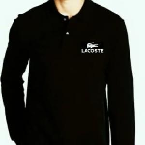 Harga baju kaos kerah keren polo shirt kerah lengan panjang lacoste   putih | HARGALOKA.COM