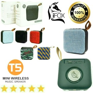 Harga portable speaker bluetooth wireless ifox speker mini music box t5   biru | HARGALOKA.COM